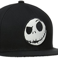 Nightmare Before Christmas Men's Jack Flatbrim with Underbrim Art, Black, One Size