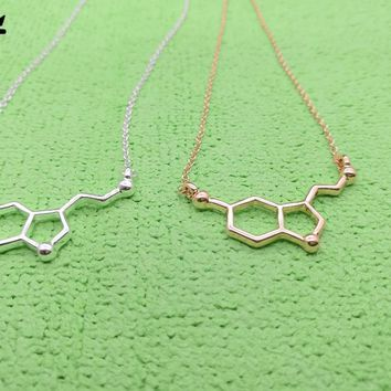 10PCS- Formula Hormone Serotonin Molecule Necklace Chemical Science Molecules Necklace Chemistry 5-HT Necklaces for Nurse