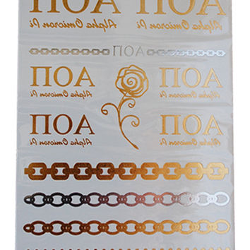 Alpha Omicron Pi Jewelry Tattoos, Gold Metallic Tattoos, Greek Temporary Tattoos, Metallic Tattoos, GREEK Jewelry