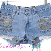 Vintage LEVIS Low Rise Trashed Destroyed Denim Cut Off Shorts XS