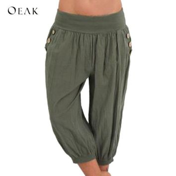 OEAK Women 5XL Plus Size Loose Pants Buttons Casual Elastic Low Waist Harem Pants Capris Female Solid Trousers Summer Pantalones