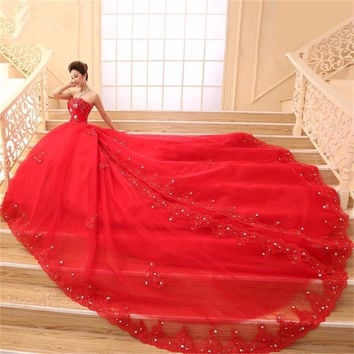 Lace Red Wedding Dresses Ball Gown Sweetheart Tulle Crystal Princess Wedding Gowns Weding Bridal Bride Dresses weddingdress