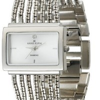 Anne Klein Women's 10-7209SVSV Diamond Accented Silver-Tone Bracelet Watch