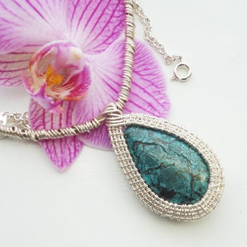 Chrysocolla Wire Wrapped Pendant, Wire Wrapped Necklace, Chunky Wire Wrapped Pendant, Blue Pendant, UK Seller