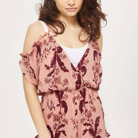 Floral Cold Shoulder Playsuit - Swimwear & Beachwear - Clothing