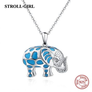 100% Sterling silver 925 diy design cute elephant glowing pendant chain necklace European fashion jewelry making for women gifts