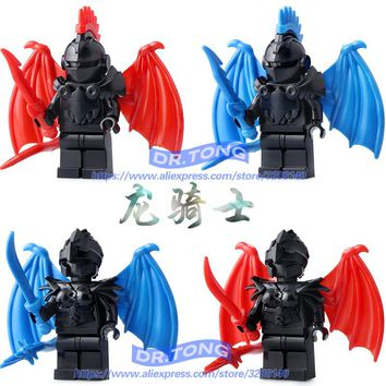Single Sale Medieval Castle Knights Dragon Knights The Lord of the Rings Figures with Armor Building Blocks Brick Toys