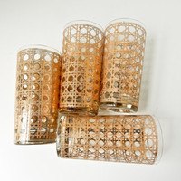Mid Century Modern Highball Glasses Metallic Gold Geometric