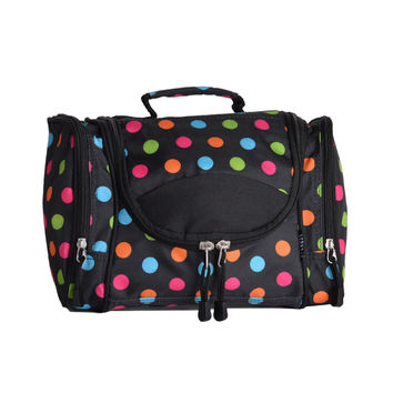ORGANIZER DELUXE TOILETRY/COSMETIC BAG MULTI COLOR POLKA DOTS - EVEREST DESIGN