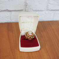 Vintage Cameo Ring Watch / Large Statement Ring / Lucerne American Time Company Swiss Made Timepiece