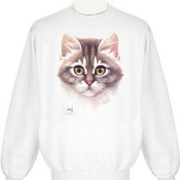 Kitten Face Sweatshirt (XLarge, Ash Grey)