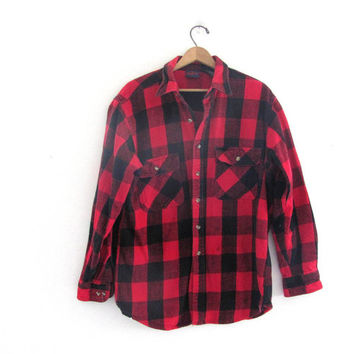 80s black and red checkered shirt / button up shirt // lumberjack shirt / men's flannel shirt size L