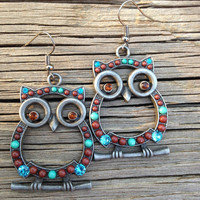 Large Dark Grey Owl Earrings with Brown, Blue, and Turquoise