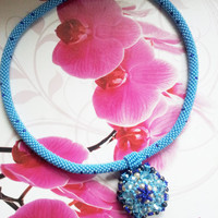 Beaded Crochet necklace OCEAN STAR toho beads