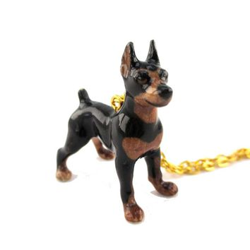 3D Porcelain Miniature Pinscher Dog Shaped Ceramic Pendant Necklace
