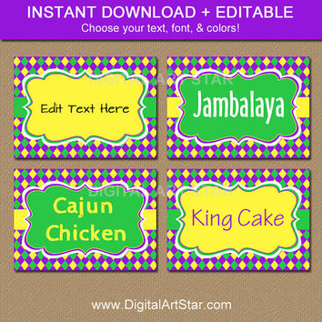 EDITABLE Mardi Gras Labels - Mardi Gras Candy Buffet Labels - Digital Mardi Gras Candy Station Labels - DIY Food Tags - Instant Download