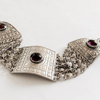 BoHo, Detailed Vintage Panel Bracelet with  3 Bezel Set Amethyst Cabochons and Box Closure Clasp, Made in Israel