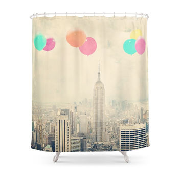 Society6 Balloons Over The City Shower Curtains