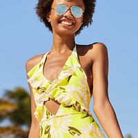 Aerie Ruffled One Piece Swimsuit , Lemon Lime Infusion