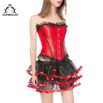 TOPMELON Steampunk Corset Dress Bustier Gothic Corselet Sexy Corset Women Lace Ruffles Shows Party Club Tulle Short Dress Set