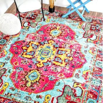 The Luella Boho Pink Pattern Area Rug
