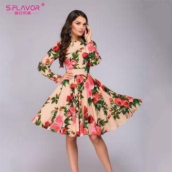 S.FLAVOR Women Long SLeeve Florl Print Dress Knee Length Casual A Line Dress Elegant Spring autumn Women Party Dresses Vestidos