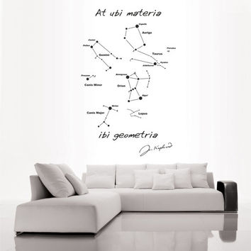 Science art astronomy Kepler quote and Star Map vinyl wall decal for your lab classroom school university scientific decor