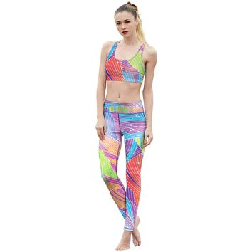 SKST Pattern Sports Suit Sleeveless Vest Running Pants Set Game Overwatch Costume Yoga Suits Women