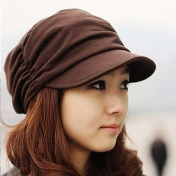 Nice Design Women Peaked Cap Slouchy Girls Pleated Sunhat Baseball Hat