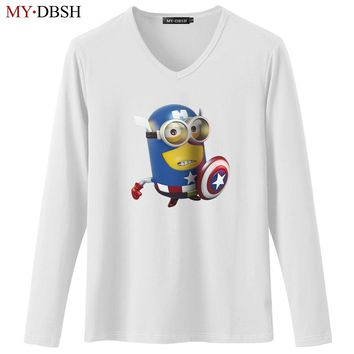 31b4bfb560c Classic Funny Minions Captain America Super Hero T-Shirts Men Wo