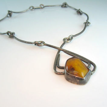 Baltic Amber Necklace Modernist Signed ORNO Poland Hand Made Silver Statement Necklace Vintage 1960s