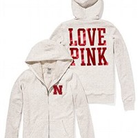 University of Nebraska Faux-fur Lined Bling Zip Hoodie - Victorias Secret PINK - Victoria's Secret