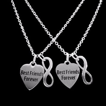 Best Friends Forever Heart Infinity Friend Gift BFF Friendship Necklace Set