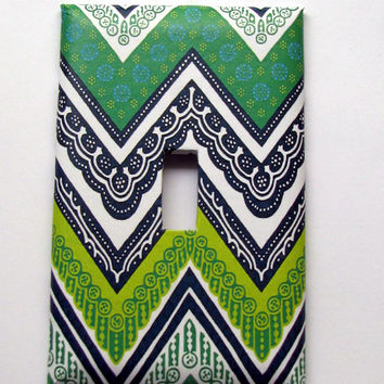 Light Switch Cover - Light Switch Plate Green Black White Chevron
