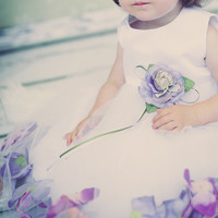 Silk & Tulle Floating Flower Petals Dress with 23 Petal & Flower Pin Color Choices (Baby Girls 3 - 24 months)