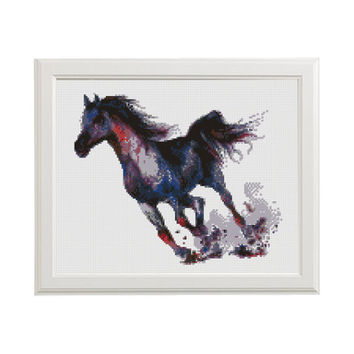 Horse Cross Stitch Pattern, Modern Embroidery Chart, Watercolor Art, Cute Animals, Printable PDF Birthday Gift Blue DIY Instant Download