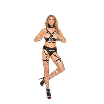 Elegant Moments IS-EM-L1167X 2 piece Leather cupless bra set, Size 3X