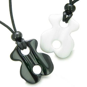 Lucky Infinity Couple or Friendship Set Ying Yang White Jade Black Onyx Magic Powers Necklaces