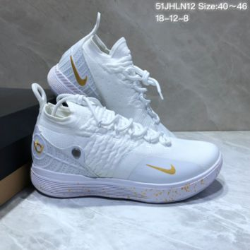 HCXX N679 Nike Zoom KD11 Mid XI Men Actual Baketball Shoes White Gold