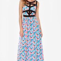 In Great Shape Coral and Blue Print Maxi Dress