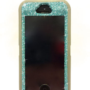 iPhone 5/5s Glitter OtterBox Defender Series Case / Cute Sparkly Bling  Custom Case Grey / Blue topaz.