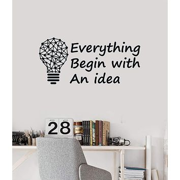 Vinyl Wall Decal Lightbulb Idea Quote Inspire Saying Office Space Stickers Mural (ig5547)