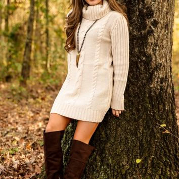 Turn The Cables Sweater Dress-Cream