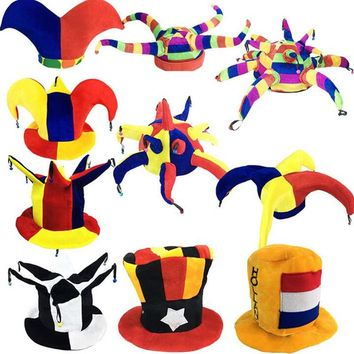 2017 New Colorful Circus Clown Hat Kids Adults Football Beer Carnival Party Hats Halloween Fancy Dress Decoration