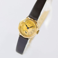 Women's watch Certina very small. Gold plated Swiss watch antique. Cocktail lady watch round. Women gift watch. Premium leather strap new