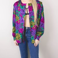 Vintage Colorful Floral Button Up Blouse
