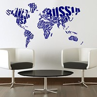 Wall Decal Vinyl Sticker Decals Art Home Decor Murals Decal World Map Map of The World Map Counrty Word Sign Travel Office Bedroom Dorm Decals V1077