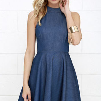 Tie Breaker Blue Chambray Lace-Up Dress