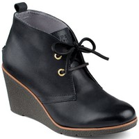 Sperry Top-Sider Harlow Burnished Leather Wedge Bootie Black, Size 9M  Women's Shoes