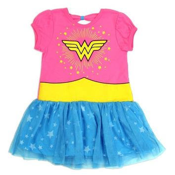 Wonder Woman Girls Tutu Dress. Sized 4-6X.  Neon Pink with Mesh Tutu